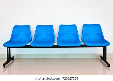 airport or bus station seats on white wall background
