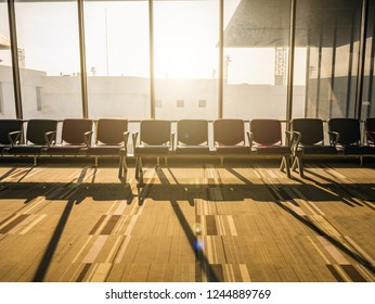 Airport chair beside the window in the morning at don muang internation airport bangkok City Thailand