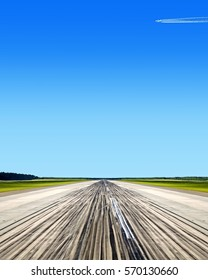 Airport concrete active runway perspective view with airplane flying grass field and blue sky nature landscape air travel transportation background design reference