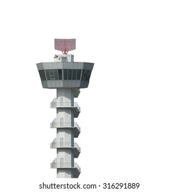 Airport control tower isolated on white background with clipping path