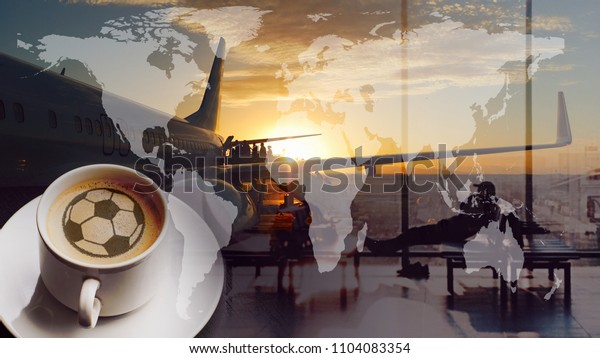 Airport cup of coffee with soccer or football ball. World map and boarding queue. Double exposure collage. Elements of this image furnished by NASA