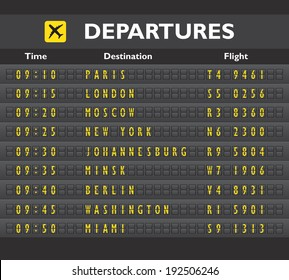 Airport departure arrival destination mechanical analog old style counter board template  illustration