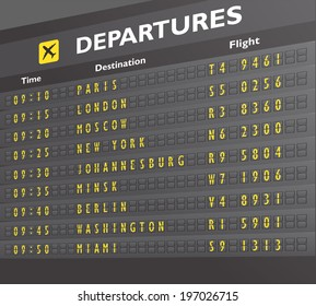 Airport departure arrival destination mechanical analog old style counter board print  illustration