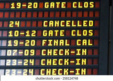 Airport Departure & Arrival information board sign. Canceled flight.