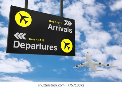 Airport Departure & Arrival information Board with White Jet Passenger's Airplane on a blue sky background. 3d Rendering