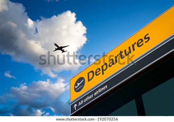 Airport Departure and Arrival sign at Heathrow, London
