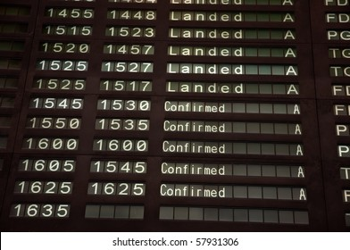 Airport Departure Board, Landed and confirmed