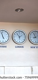 in airport different watch with worldwide timezone