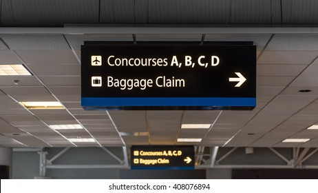Airport directional signage on ceiling
