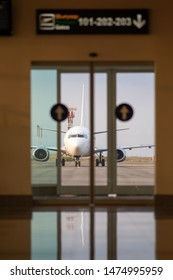 Airport door and runway airplane