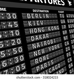 Airport electronic flip-flap board departure arrival and delay flight status information black digital display perspective  illustration