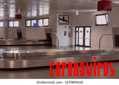 Airport empty luggage belt COVID-19 world outbreak no flight concept. No crowd at baggage carousel area, with coronavirus title.