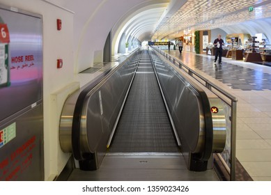 Airport escalator at the Abu Dhabi International Airport, UAE, October 2017