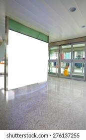 Airport exit door glass wall corridor wall lightboxes