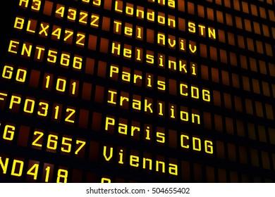 Airport Flight board with departures schedule