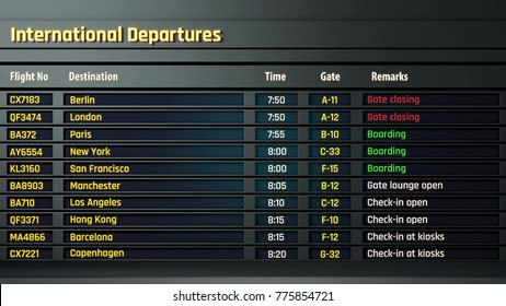 Airport flight information displayed on departure board, flight status changing