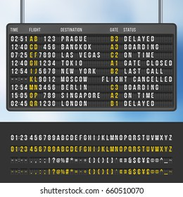 Airport flip arrivals information scoreboard mockup. Display with information flight and destination, illustration of info scoreboard