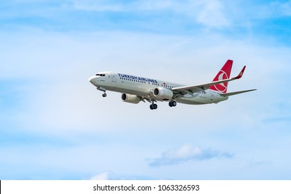 AIRPORT FRANKFURT,GERMANY: JUNE 23, 2017: Boeing 737-800 Turkish Airlines is the national flag carrier airline of Turkey. It serves more destinations non-stop from a single airport