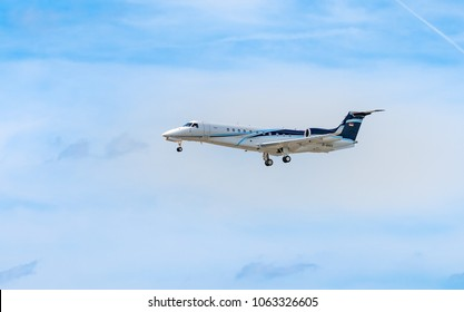 AIRPORT FRANKFURT,GERMANY: JUNE 23, 2017: Embraer EMB-135BJ Embraer ERJ is a series of twin-engine regional jets produced by Embraer, a Brazilian aerospace company.