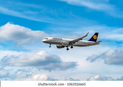 AIRPORT FRANKFURT,GERMANY: JUNE 23, 2017: Airbus A320-200 LUFTHANSA. Lufthansa, is the largest German airline and, when combined with its subsidiaries, also the largest airline in Europe