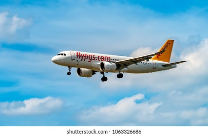 AIRPORT FRANKFURT,GERMANY: JUNE 23, 2017: Airbus A320 Pegasus Airlines is a Turkish low-cost airline,with bases at several Turkish airports.