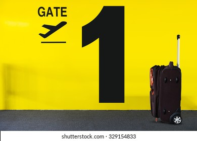 Airport Gate Sign with a Luggage and Number
