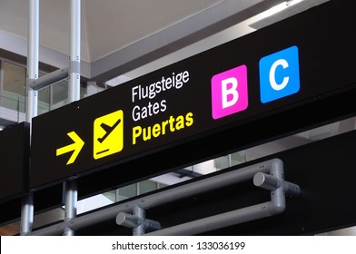 Airport gate signs, Malaga, Andalusia, Spain, Western Europe.