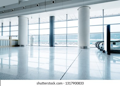 Airport hall without people