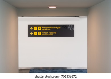Airport information board at the new airport