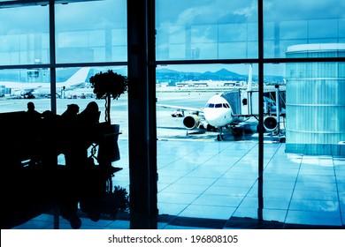 Airport interior. Contrast silhouettes.