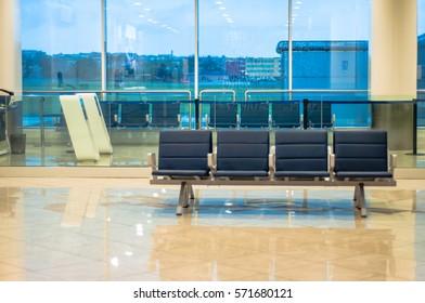 Airport interior, departures waiting hall