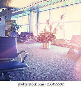 Airport interior with instagram effect