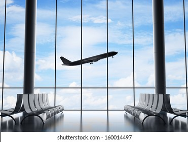 airport interior with window and airplane
