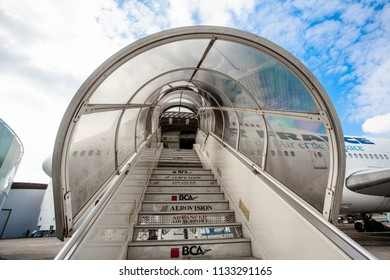 Airport Le Bourget, France - October 8, 2016  : The double-deck Boeing 747, tramp;  the world's second largest passenger commercial airplane at the airport Le Bourget, Paris, France.
