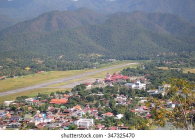 Airport and mountain and city in changmai, thailand