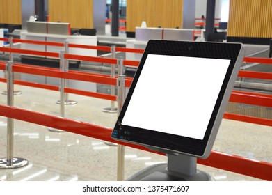 Airport online self check-in kiosk (screen has clipping path)