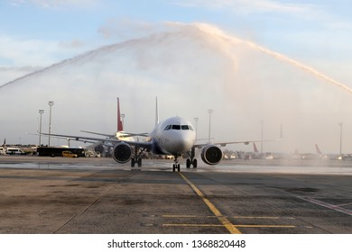 Airport overview. Airport tradition. Water cannon salute. First flight arrival. Airport first flight arrival. Water salute.