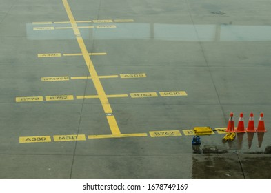 Airport parking  mark for plane