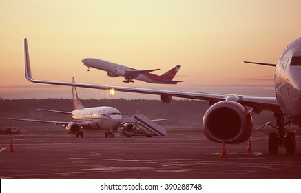 airport, the plane on takeoff, landscape
