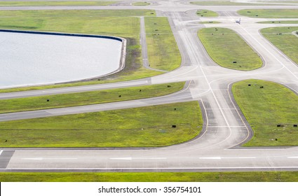 Airport runway, aerial view.