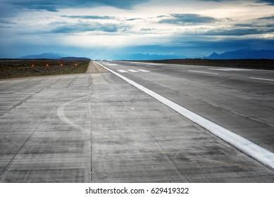Airport runway at El Calafate, Argentina international Airport in Patagonia region of Argentina