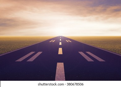 airport runway in the evening , background