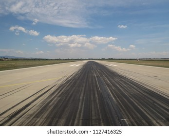 airport runway perspective useful as a travel or holiday concept