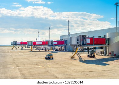 Airport runway, terminal building with gangways, Larnaca, Cyprus