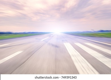 Airport Runway.High Speed Development Background Concept.Abstract background image.A straight path suitable for high speed engines.