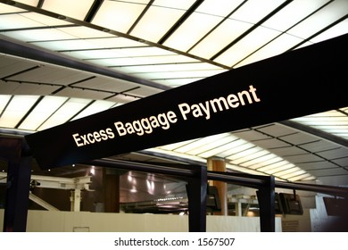 Airport scenes background series. Excess Baggage Payment Counter.