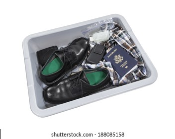 Airport screening security tray isolated with clipping path.