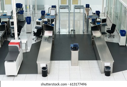 Airport security check in passenger terminal.
