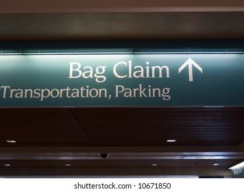 airport sign bag claim transportation parking