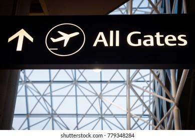 Airport sign - Departure all gates, Keflavik, Iceland.